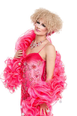 drag: Drag Queen in Pink Evening Dress Performing, on white background