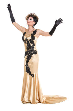 sexy gay: Drag Queen in Yellow Dress Performing, on white background