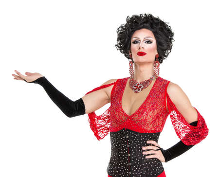red evening: Drag Queen in Red Evening Dress Performing, on white background Stock Photo
