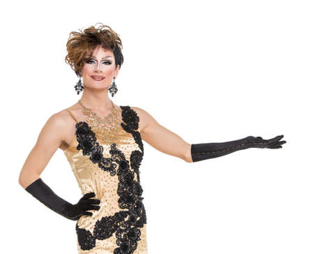 drag queen: Drag Queen in Yellow Dress Performing, on white background