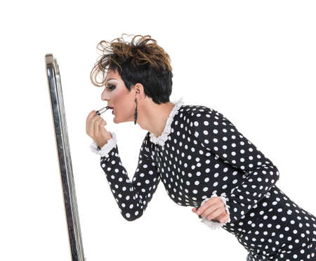 sexy gay: Drag Queen use Lipstick near Mirror, on white background Stock Photo