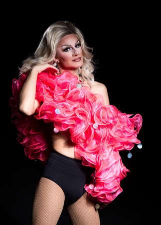 drag queen: Portrait of Drag Queen, Man Dressed as Woman