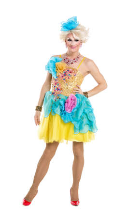 drag: Drag Queen in Yellow-Blue Dress Performing, on white background