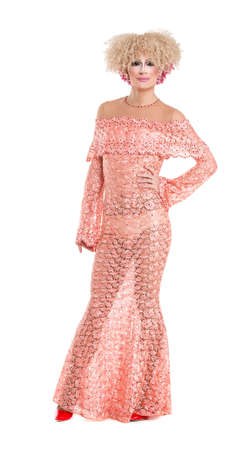 sexy gay: Drag Queen in Pink Evening Dress Performing, on white background