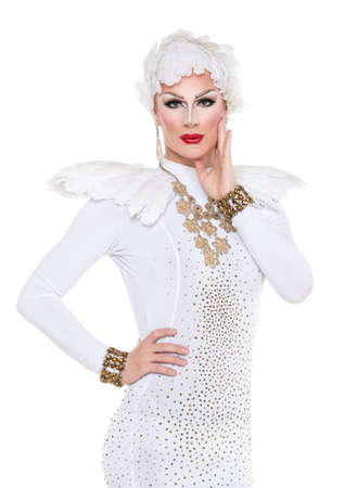 Drag Queen in White Dress Performing, on white background Stock Photo