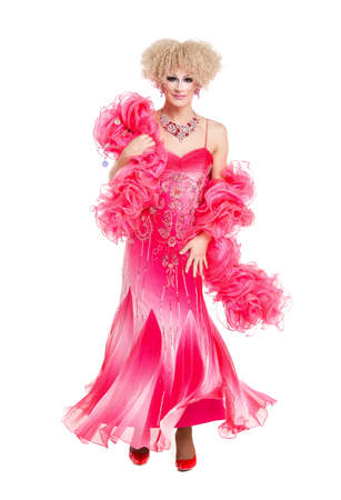 drag queen: Drag Queen in Pink Evening Dress Performing, on white background