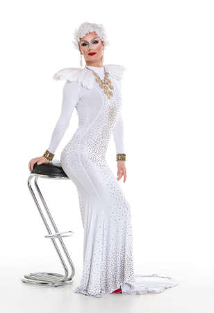 drag queen: Drag Queen in White Dress Performing, on white background Stock Photo