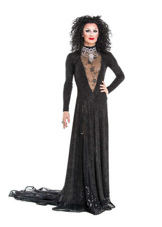 drag queen: Drag Queen in Black Evening Dress Performing, on white background