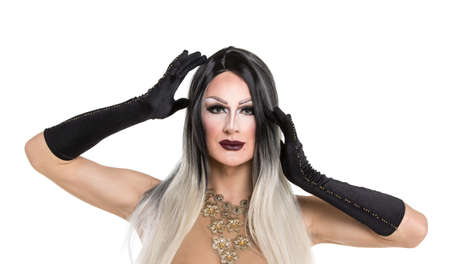 drag queen: Portrait of drag queen. Man dressed as Woman Stock Photo