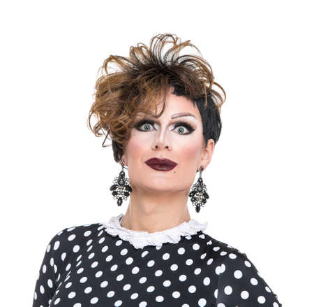 drag: Drag Queen in Black-White Dress Performing, on white background