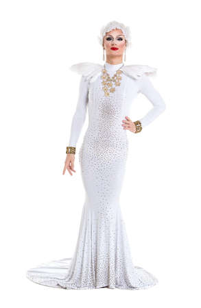 drag: Drag Queen in White Dress Performing, on white background Stock Photo