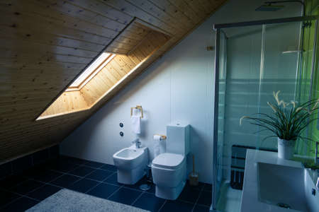 fixtures: Modern Bathroom Interior with Ceramic Fixtures, sunlight Stock Photo