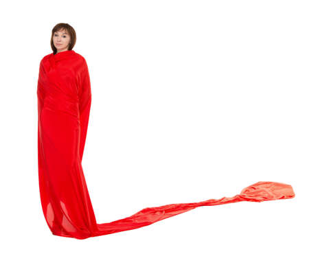 adult mermaid: Beautiful Woman in Red Long Dress, isolated on white background Stock Photo