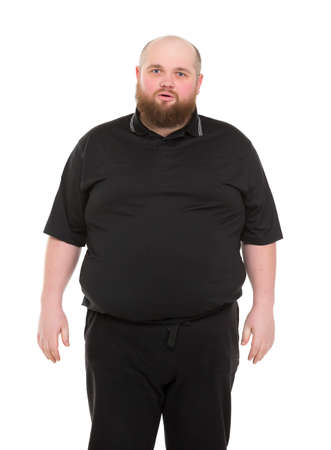 Bearded Fat Man in a Black Shirt, isolated on white background photo