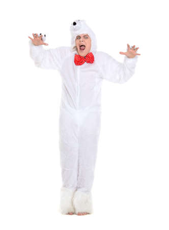 pretense: Actor Dressed as Polar Bear, isolated on white background