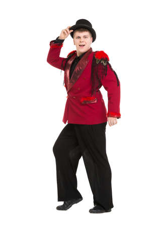 entertainer: Emotional Entertainer in Red Suit and Silk Hat, isolated on white background