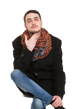 unshaved: Young Casual Unshaved Man, isolated on white background
