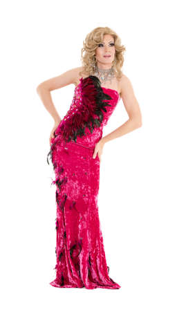 drag: Drag Queen in Red Evening Dress Performing, on white background Stock Photo
