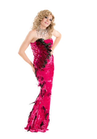 sexy gay: Drag Queen in Red Evening Dress Performing, on white background Stock Photo