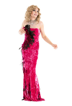 Drag Queen in Red Evening Dress Performing, on white background Stock Photo