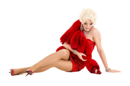 drag queen: Drag Queen in Red Dress with Fur Lying on the Floor, on white background