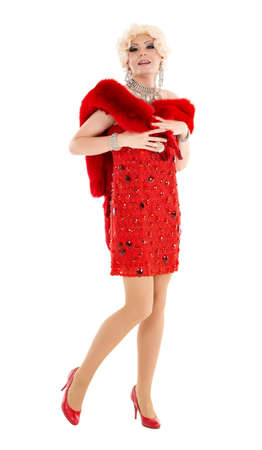 drag: Drag Queen in Red Dress with Fur Performing, on white background
