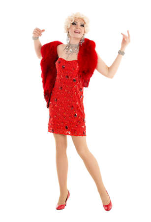 blondy: Drag Queen in Red Dress with Fur Performing, on white background