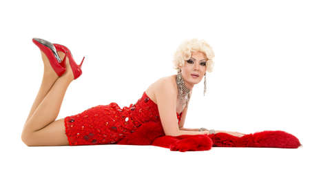 blondy: Drag Queen in Red Dress with Fur Lying on the Floor, on white background