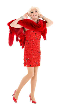 Drag Queen in Red Dress with Fur Performing, on white background