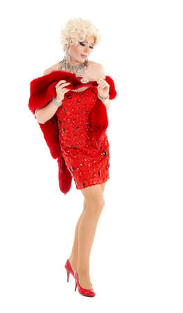 travesty: Drag Queen in Red Dress with Fur Performing, on white background