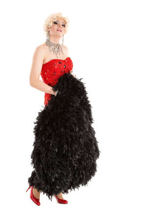 sexy gay: Drag Queen in Red Dress with Fur Performing, on white background