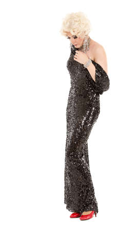 travesty: Portrait Drag Queen in Black Evening Dress Performing, on white background Stock Photo