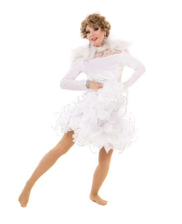 Portrait Drag Queen in White Dress Performing, on white background