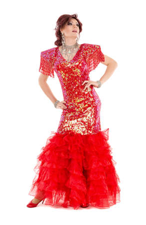 drag queen: Portrait Drag Queen in Red Dress Performing, on white background