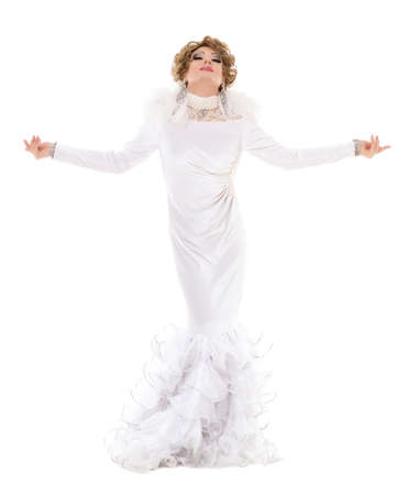 drag: Portrait Drag Queen in White Dress Performing, on white background