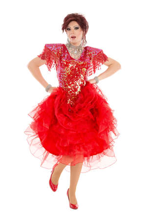 Portrait Drag Queen in Red Dress Performing, on white background