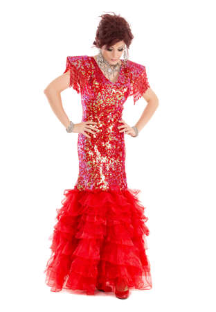 drag: Portrait Drag Queen in Red Dress Performing, on white background