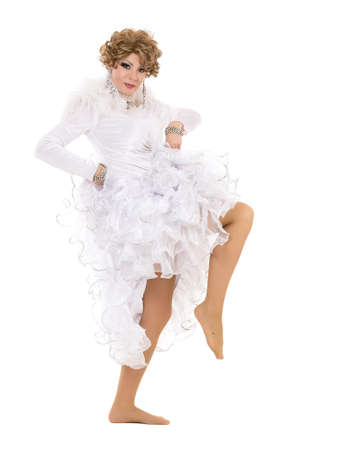 travesty: Portrait Drag Queen in White Dress Performing, on white background