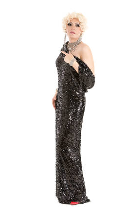 Portrait Drag Queen in Black Evening Dress Performing, on white background Stock Photo