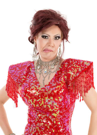 travesty: Portrait Drag Queen in Red Dress Shows Grimaces, on white background