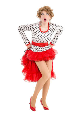 Portrait Drag Queen in Woman Dress Performing, on white background