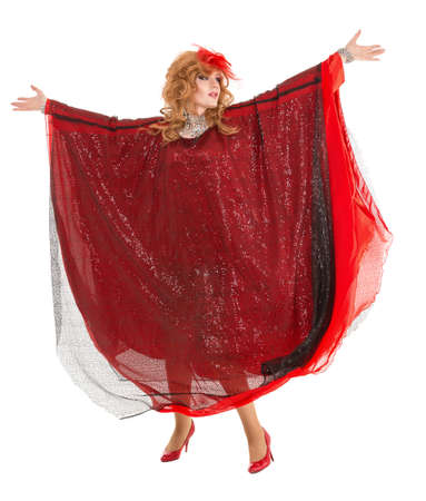 travesty: Portrait Drag Queen in Woman Red Dress Performing, on white background