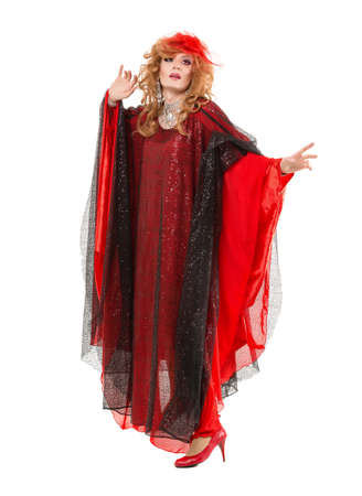 sexy gay: Portrait Drag Queen in Woman Red Dress Performing, on white background