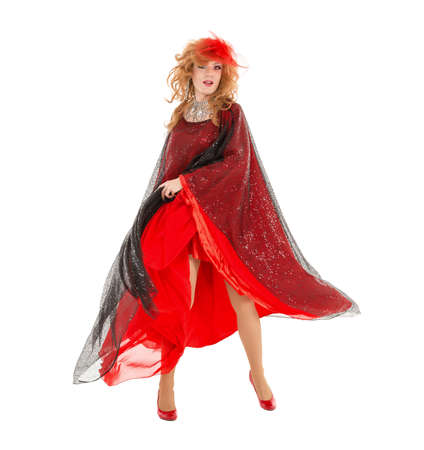 Portrait Drag Queen in Woman Red Dress Performing, on white background