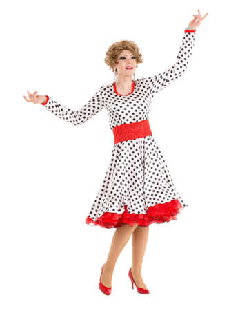 travesty: Portrait Drag Queen in Woman Dress Performing, on white background