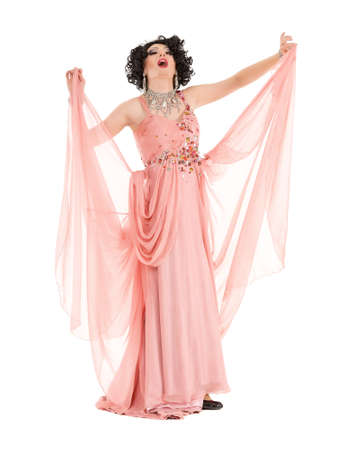sexy gay: Portrait Drag Queen in Pink Evening Dress Performing, on white background