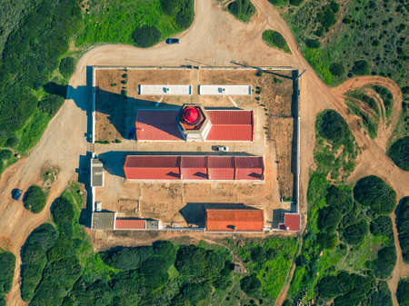 The Espichel Cape Lighthouse, Sesimbra, Portugal, aerial top-down view