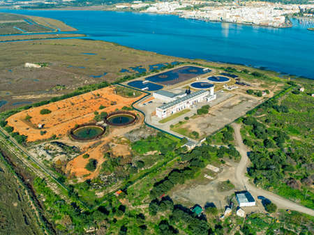Aerial View of the Sewage Treatment Plant, old and new