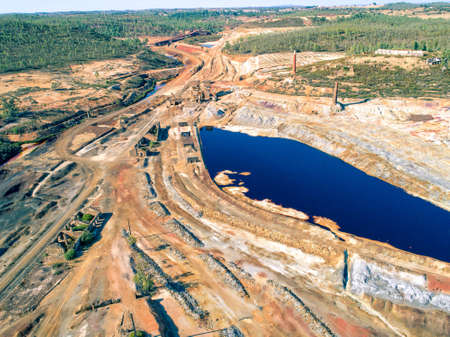 Abandoned Old Copper Extraction Sao Domingos Mine, Portugal, aerial view