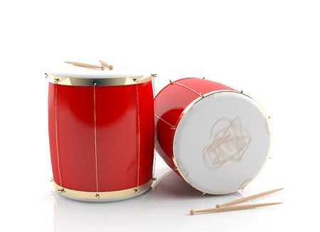 Red drums 3d model isolated on white background